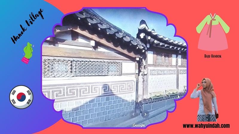 hanok village. kampung Korea dengan bangunan yang masih jadul. Baju tradisionalnya hanbook