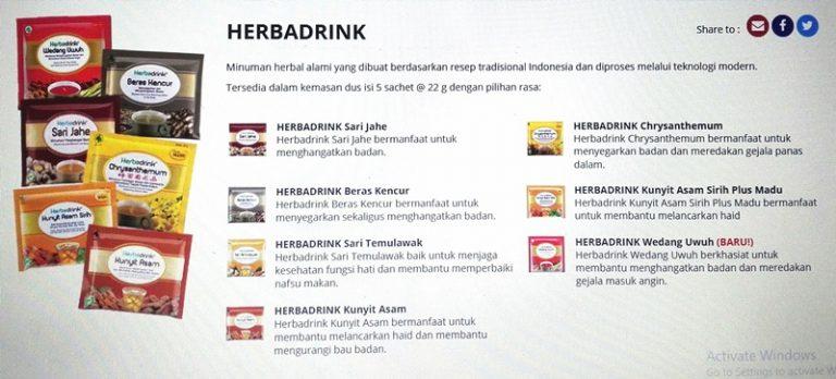 varian herbadrink yang beragam. ada 12 varian dengan rasa yang berbeda