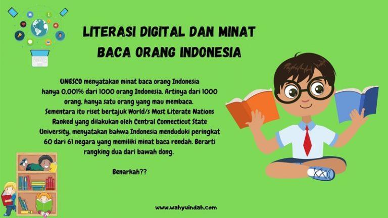 bagaimana tingkat minat baca di Indonesia dalam literasi digital