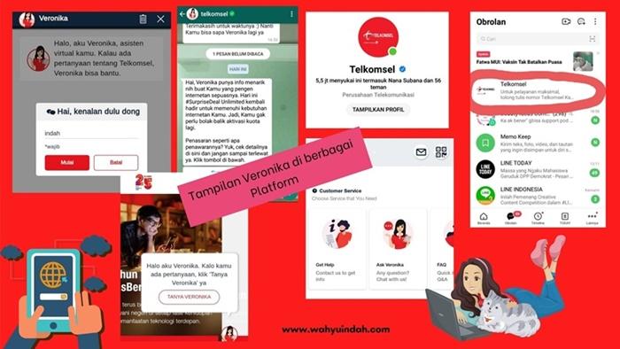 cara menggunakan tanya veronika asisten virtual dari telkomsel di beberapa platform yang berbeda